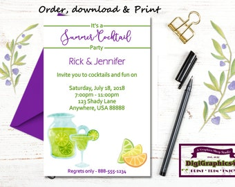 Cocktail Party, Summertime, Summer and Cocktails, Adult Party Invitation - Personalized Digital File