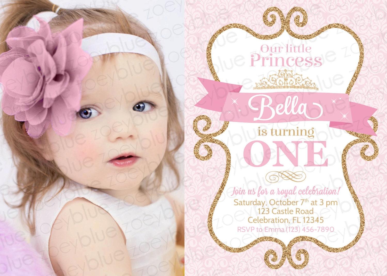 Princess Birthday Invitation Girl Gold Glitter Pink Gold Damask