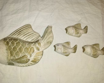 Mid century fish wall decor white and gold