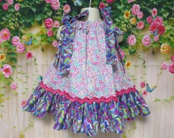 Girl Dress 12M-18M Baby Girl Dress Pink, Purple, Blue, Flowers Swirls Pillowcase Dress, Pillow Case Dress, Sundress, Boutique Dress