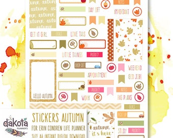DK Sticker Planner Autumn #5 - Fall - Otoño - Printable - For Erin Condren Life Planner - Pegatinas