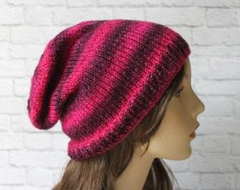 Knit Slouchy Hat, Slouchy Beanie, Women's Knit Hat, Gifts for Her, Winter Hat, Valentine's Day Gift, Pink and Plum
