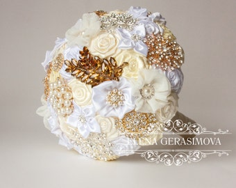 Brooch Bouquet. Ivory white gold silver Fabric Bouquet, Unique Wedding Bridal Bouquet