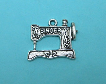 6 Sewing Machine Charms Silver Tone Metal (S143-cnt)