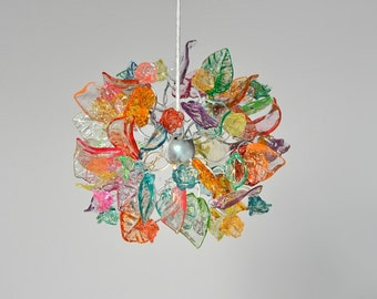 Pendant Lighting,  Pastel color Ceiling chandelier with flowers and leaves for hall, bathroom, girls room or as a bedside lighting.