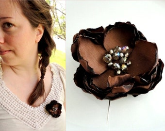 "Floral Rustic Wedding Flower Hair Clip for Dress Sash Belt broach 3"", Boutonniere Brown Fabric Flower Brooch Pin, Crystal Bead, Hairpiece"