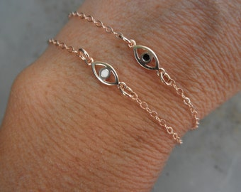 Rose gold  Evil eye bracelet with a touch of enamel with rose gold filled chain