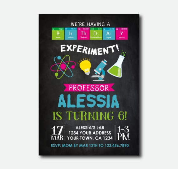 Science Birthday Invitation Mad Scientist Party Scientist Birthday