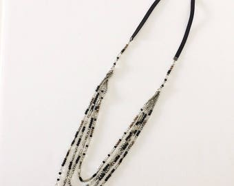 4 Layered beaded long necklace / Gift / Birthday gift