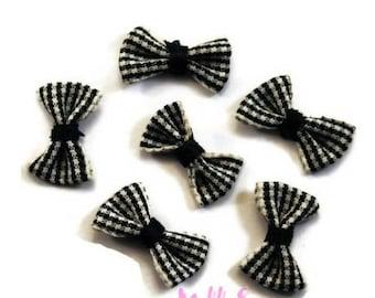 Set of 5 bows embellishment black gingham scrapbooking card making *.