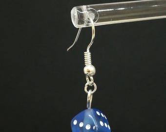 Blue single dice earrings
