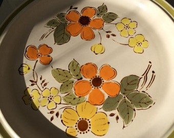 Platter Harvest Collection 12 Inch Plate Hors D'Oeuvres Seventies Avocado Green Butter Yellow Pumpkin Orange One Dish