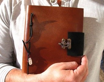 Handmade Leather Bound Journal with Metal Latch