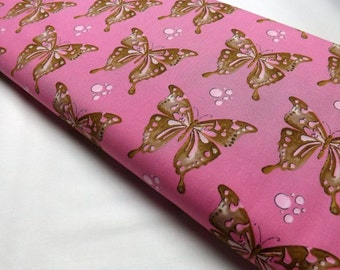 Tina Givens Butterfly Free Spirit Bubbles Pink Mocha Quilting Sewing Cotton Textile Fabrics