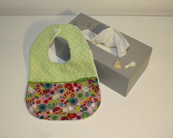 Baby bib, 3-9 months years Dots fruit - 3-9 months baby bib green and fruit lined with cotton Terry