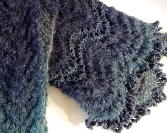 Blue Multi Hue Winter Knit Scarf, Gift Scarf, Blue Scarf, Warm Scarf, Hand Knit Scarf