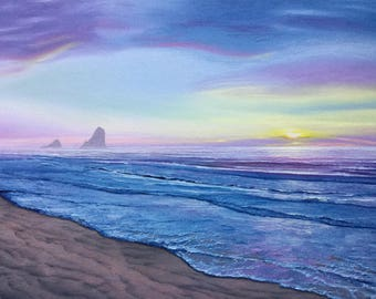 Sea seascape original oil on canvas oil painting 36x24 in