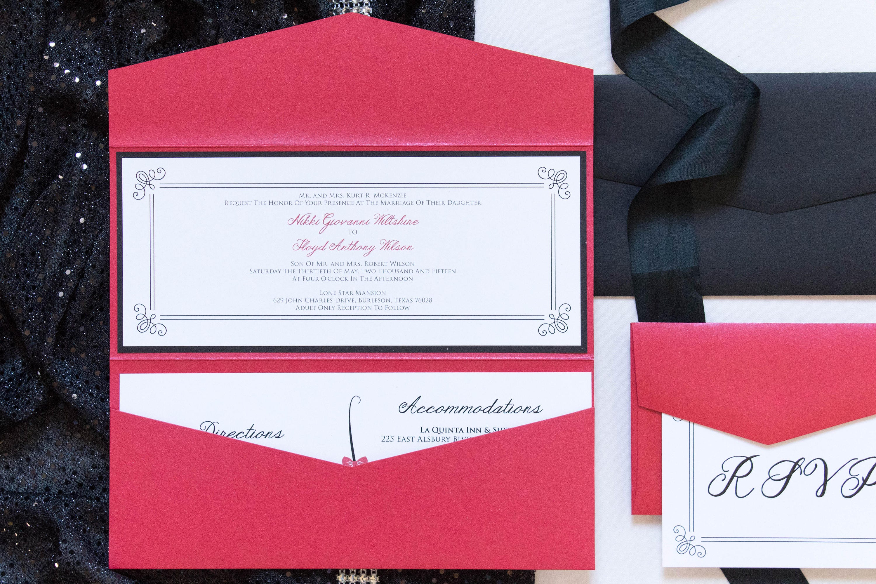 4x9 Odd Size Red and Black Pocket Wedding Invitation with Details ...
