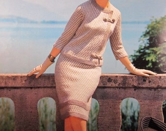 1960's Knitting Patterns, Vintage PDF Pattern Women's Knit Skirt and Jacket Set 601S