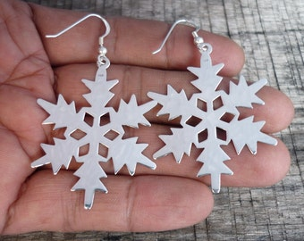 Snowflake Earrings - Winter Earrings - Silver Earrings - Christmas Earrings - Christmas Gift - 925 Sterling Silver Large Earrings Dangle