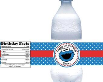 Cookie Monster Sesame Street - Personalized water bottle labels - Set of 5  Waterproof labels