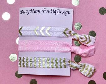 Pink elastic hair ties