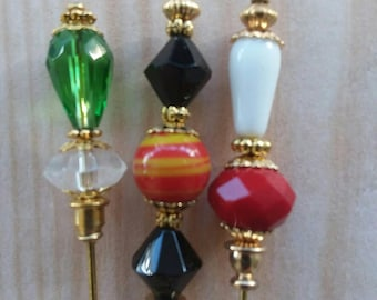 3 Diff Hatpins Beautiful Beads 3 inches long. .We sell hat stick  pin blanks,make your own,findings supplies...S12