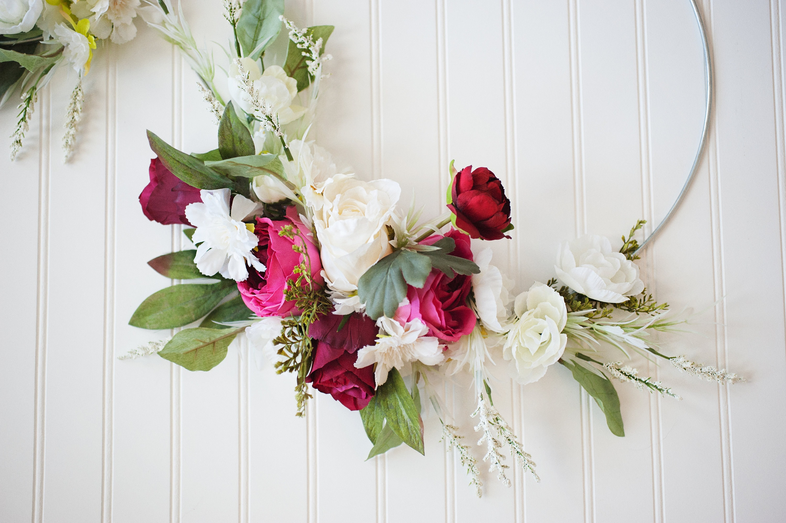 ADORE SERIES: Pair of Silver Hoop Wreaths, Peony and Roses, Spring ...