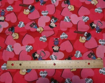 Red Peanuts Gang Valentine Cotton Fabric by the Half Yard