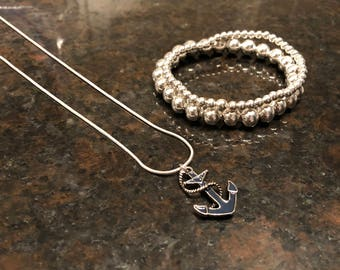 HOMETOWN Anchor Necklace and Silver Bracelet Set