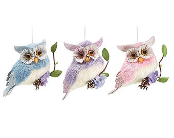 BRAMBLE + BRIAR Hoot Owl-Set of 3/Wreath Enhancement/Spring-Summer Decor/ burton+Burton/9724433