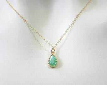 Green Necklace, Teardrop Gold Necklace, Drop Zircon Necklace, Gold Necklace, Bridesmaid Gift, Wedding Jewellery, Minimalist Necklace