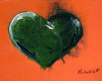 Gift for Him, Husband Gift, Original Painting, Khaki Heart, Orange, For Teens, Boys Room, Boys Nursery, Artwork, Heart Art, Kitchen Decor