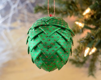 Christmas Ornament Shiny Green Folded Ribbon Ball Tree Trimming or Wreath Swag Handmade Holiday Decor Gift Exchange Idea Present for Mom