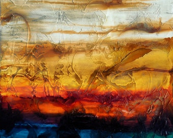 """Original Abstract Textured Fluid Painting """"autumn sky"""" contemporary wall art 20x20 by Holly Anderson Ships Free within the USA"""