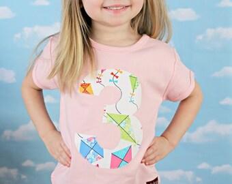 Girls Kite 3rd Birthday Number 3 Shirt, Applique Kite Tshirt, Spring Birthday Tee, Size 4 4T, Ready to Ship, Short Sleeve Pink
