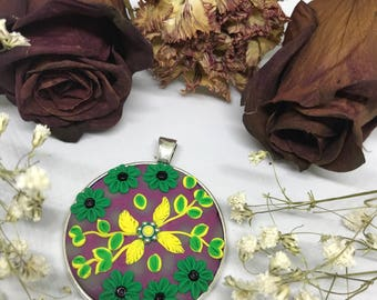 Floral Polymer Clay Embroidery Pendant Necklace