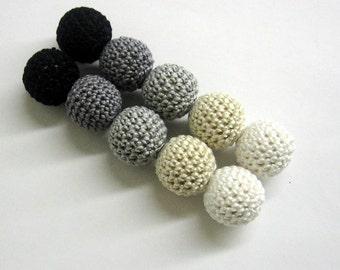 Crochet beads 20 mm handmade round black, white, gray and ecru balls, set of 10