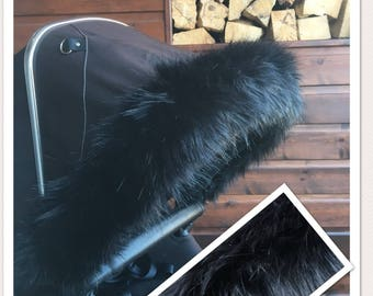 Hood Fur Trim Black Luxury faux fur pram hood trim for all prams! FREE POSTAGE For bugaboo, icandy, stokke, silver cross, egg and more