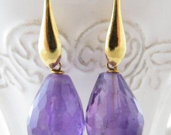 Amethyst earrings, purple stone earrings, golden sterling silver 925 earrings, drop earrings, dangle earrings, gemstone jewelry, gioielli
