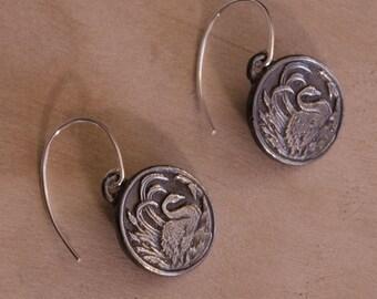 """Swan Earrings, Sterling Silver, 3/4"""""""