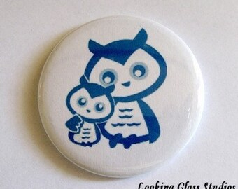 YART SALE - - Half Price Mama Owl and Baby (Blue)  Pocket Mirror