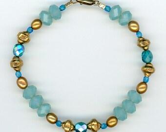 Pacific Opal Bracelet, Swarovski Crystal Jewelry, Freshwater Pearls, Artisan Jewelry, Handmade Bracelet, Gold Vermeil, Classic Jewelry