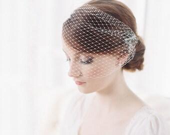 Birdcage veil, bandeau veil, bridal veil - French net - Style 1974