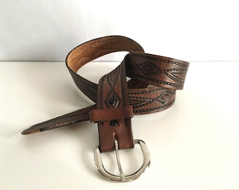 Vintage Accessories, Men's 70's Brown, Leather, Tooled Belt (38-43)