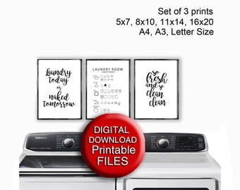Printable Laundry Art Laundry Care Guide So Fresh and So Clean Clean 5x7 8x10 11x14 16x20 A4 A3