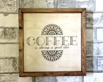 Coffee Sign/ Coffee Wall Decor, Coffee Decor, Wood Dign, Wooden Sign, Kitchen Decor, Kitchen Wall Decor, Coffee Shop Decor, Coffee Bar