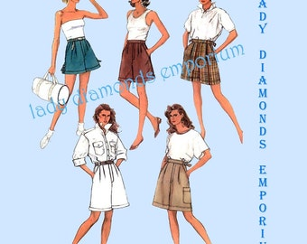 Simplicity 8630 Misses Womens Teens Shorts 3 Lengths 5 Styles size 10 Waist 25 Vintage 80s Petite Size Sewing Pattern Uncut FF #231