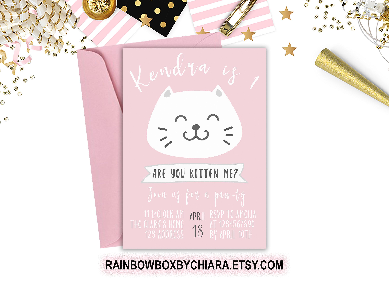 Cat Birthday Invitation Kitten Birthday Invitation Pink