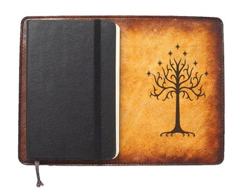 Moleskine Leather Notebook Cover [Large & Pocket Sizes][Customizable][Free Personalization] - Tree of Gondor
